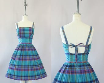 Vintage 50s Dress/ 1950s Cotton Dress/ Turquoise & Purple Plaid Cotton Dress w/ Open Back XS