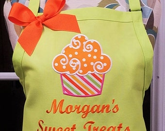 Personalized Apron Cupcake Apron Baking Cooking with Optional Dish Towel
