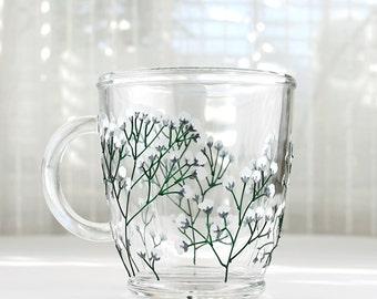 Hand Painted Glass Mug, Baby's-breath Flower Design, Glass Coffee Mug, Glass Tea Mug, Painted Glass Mug, Botanical Mug