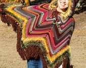 Crochet Boho Owl Poncho - 2 Year Old to Adult Sizes - Fringe Fall Hippie Poncho - Made to Order - Hooded Owl Costume