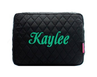 Monogram Quilted Black Makeup Bag - Solid Black Quilted Makeup Bag - Monogrammed Make Up Case- Personalized Cosmetic Bag -Monogrammed Gift