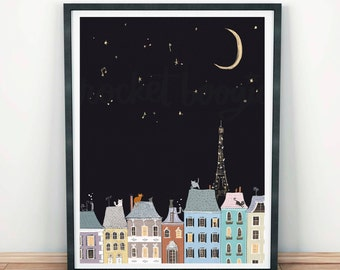 Cats in Paris Art Print