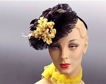 Black Crinoline Tilt Fascinator with Silk and Linen Cloth Millinery Florals - 1940's Women's Hat Fashions