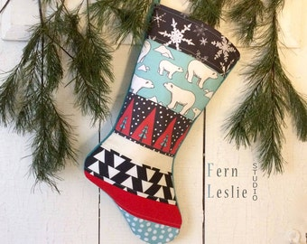 Christmas Stocking, Polar Bears, Quilted, Personalized, Turquoise, Red, White, Black, Teal, Patchwork,Holiday