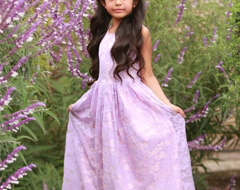 Ready to Ship- Lavender and Pink Lace Overlay Dress- Flower Girl, Wedding, Girl, Toddler, country, rustic dress, spring, summer, Easter