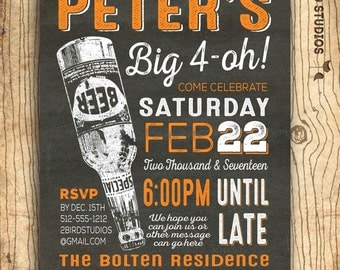 40th birthday invitation for men - cheers & beers 40th birthday invitation  - 40th beer invitation - Surprise party - Chalkboard u print