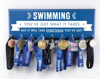 Swimming medal display for swim medals and swimmer ribbons