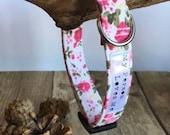 Dog & cat collar. Pink, rose, floral, girl, vintage inspired fabric collar. 10mm, 15mm, 20mm, 25mm. Cat collars use safety buckle. Custom