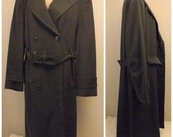 50s US Army Wool Gabardine Overcoat Top Coat Lined Size 40
