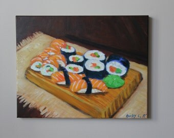 Sushi Art on Canvas- 16×20 original acrylic painting- food art- Japanese cuisine- wall art-kitchen décor