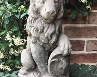 Lion Statue - Concrete Lion - Garden Decor - Garden Lion - Outdoor Statue - Garden Statuary - Brocante