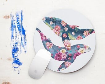 Whales Flowers Mouse Pad Floral Round Mouse Pads Stone Mouse Mat Office Supplies Rectangular Mousemat Office Desk Accessories CG5011