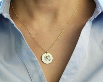 Personalized Disc Necklace-Gold Monogram Necklace-Gold Initial Disc Necklace-Monogram Necklace-Engraved Disc Necklace-Personalized Gift