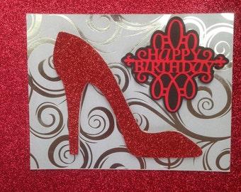 Birthday Card, Shoe, stiletto glitter shoe Card, Red glitter high heels shoe Card
