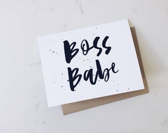 A2 Card 'Boss Babe' // Girl Boss, Hand Lettered Greeting Card