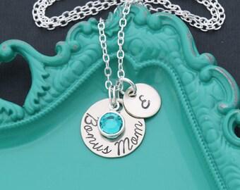 SALE • Mom Necklace Stepmom Gift • Step Mother Gift Step Mom Custom Initial Mom Gift • Mothers Initial Jewelry Birthstone Bonus Mom Present