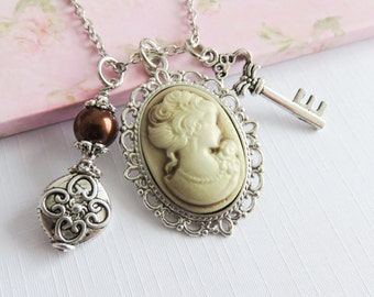 Cameo necklaces, victorian style necklace, ren faire style jewelry, cosplay style, Renaissance style, vintage style jewelry, gift for her
