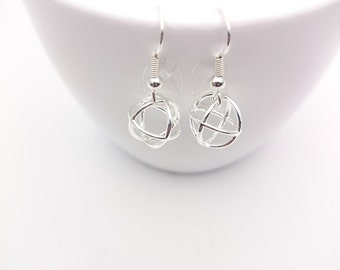 Silver Geometric Round Earrings steel closures//Small Silver 925 plated Rounds pendants 3D hypoallergenic//Silver Ball dangle earrings