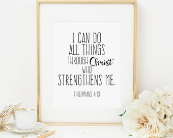 I Can Do All Things Through Christ Printable Philippians 4:13 Scripture Verse Print Bible Verse Wall Art Christian Wall Art Black and White