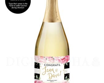 Congrats Newlyweds CHAMPAGNE LABEL Engagement Gift for Couples Engagement Party Champagne Bottle Personalized Champagne Labels - Jenn