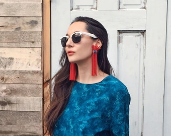 Red Woolly Fringe Earrings - Hand-stitched