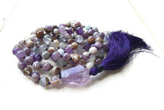 Amethyst and Aquamarine Mala Necklace, Calm Your Fears Mala, Mala Beads To Lift Your Spirit, Flower Amethyst Mala, Purple Silk Tassel