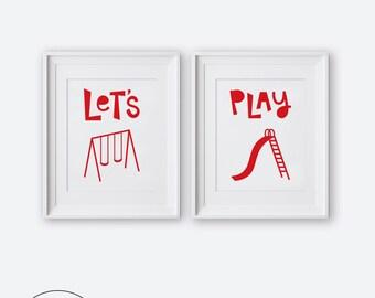 Modern Nursery Wall Art, Let's Play Diptych Two Print Set, Printable Nursery Art, Nursery Decor, Red and White Kids Room Decor, Boys Room