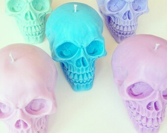 Large Skull candle - 100% soy wax - vegan candle - skull decor - pastel skull candle - wedding centrepiece