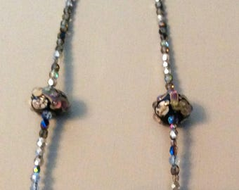 Lamp work Bead and Crystal Necklace  Handmade by Andrea Comsky