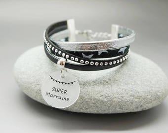 """bracelet manchette cuir liberty strass cabochon """"Super Marraine"""" personnalisable"""