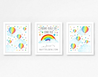 Rainbow Nursery Decor, Gift for Rainbow Baby, Personalised Gender Neutral Baby Print, Hot Air Balloon Nursery Art, Rainbow Baby Shower Gift