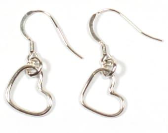 Solid Silver 925 Handmade 1.5mm Heart Charm Earrings