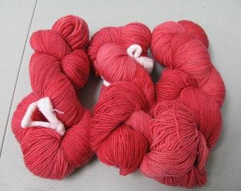 hand dyed Sock Yarn Maniac  solid-ish red limited quantity 75/25 % wool nylon superwash 100 grams 430 yards plus lurex bronze glitter strand