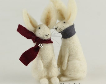 Spring, Summer, Autumn,Winter White Rabbit - Needle felted, spring rabbit, gift, autumn, fall, winter, felt, christmas gift, rabbit