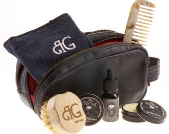 Best Beard Kit | Complete balm, oil, wax, brush, comb & soap grooming kit W/ leather toiletry bag