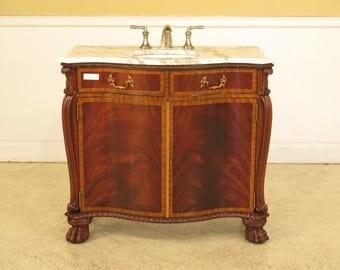41846E: MAITLAND SMITH Marble Top Mahogany Vanity w. Sink
