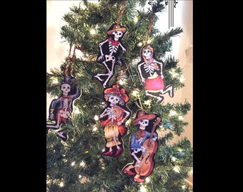 Skeletons Day of the Dead Wooden Handmade Ornaments Set of 5