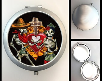 Compact Mirror Day of the Dead Skeletons