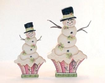 Snowcake, Item #JMP225, Snowman Fridge Magnet and/or Shelf Sitter, ByBrendasHand, Jamie Mills-Price, Snowman Winter Decor, Cupcake