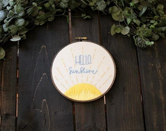 Embroidery Hoop Art Hello Sunshine - PDF Hoop Art Pattern, Baby Shower Gift, Nursery Decor, DIY Needlepoint Design, Gift for Her, Fiber Art