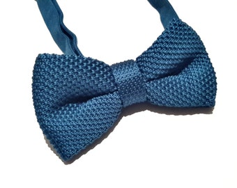 Teal Knitted Bow tie, Mens Bow Tie, Pre-tied bow tie, Adjustable Bow Tie, Double Bow Tie