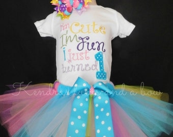 First 1st Birthday Rainbow tutu set