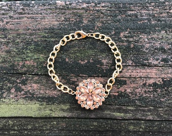 CLEARANCE Amber Crystal Flower, Amber Glass Flower, Chunky Gold Chain Bracelet, Metal Flower Bracelet, Gold Flower Bracelet