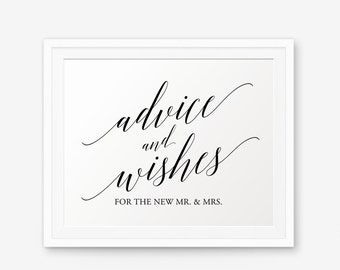 Advice and Wishes Sign Printable, Wedding Sign, Wedding Decor, wedding reception sign, Advice For Bride And Groom, Collection 2