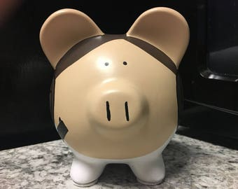 READY TO SHIP Princess Leia Carrie Fisher Hand Painted Ceramic Piggy Bank Medium