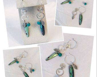 Multi-combination sterling silver abalone shell dangling earrings handmade with sterling silver wire, sterling silver charms and turquoise