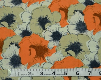 Item 120,  100% Cotton Fabric, Floral Orange and Tan Fabric, By the Yard