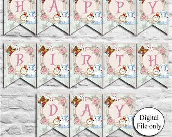 Alice in Wonderland Happy Birthday Bunting,Garland,Flag Banner - Digital,DIY,Printable - Party,Birthday,Tea Party