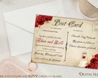 Digital Beauty and the Beast Wedding Postcard Invitations - Custom,Personalized -
