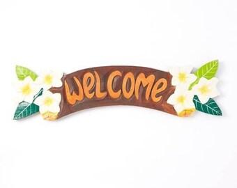 """22"""" Plumeria  Wooden Welcome Sign/Wreath Supplies/Summer Decor/276-2-750"""